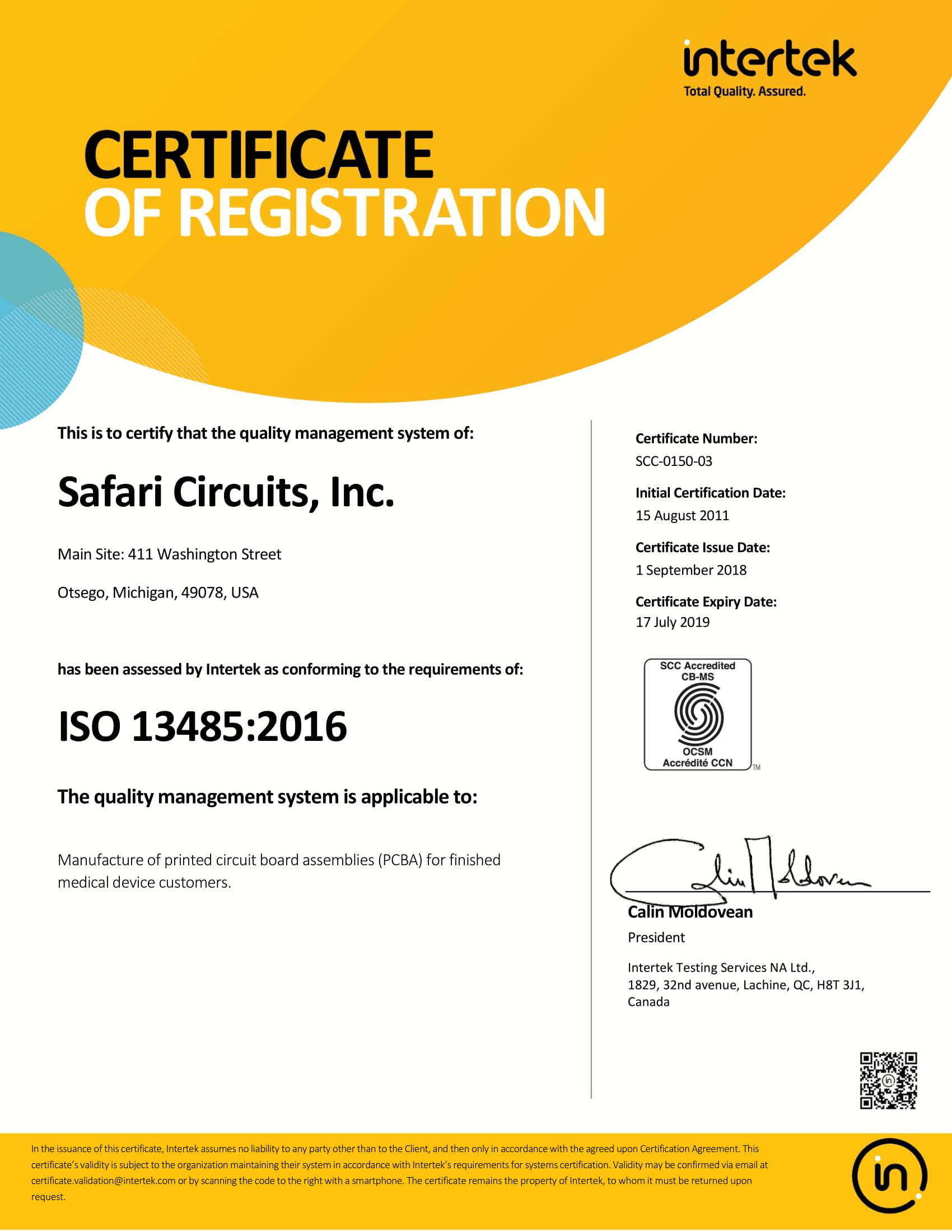 ISO 13485 Registration at Safari Circuits