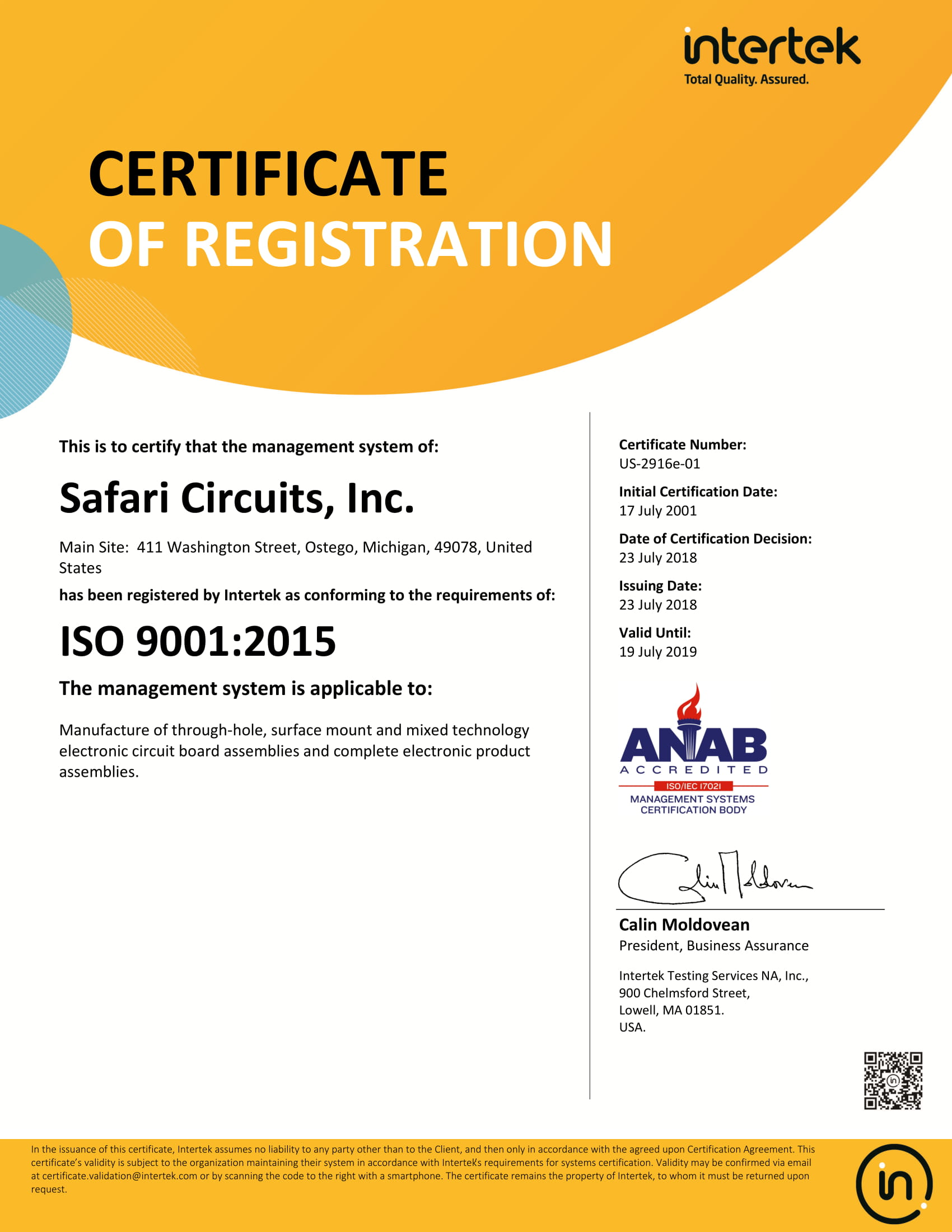 ISO 9001 Registration at Safari Circuits